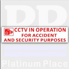 1 x 200mmx50mm-EXTERNAL RED ON WHITE-CCTV In Operation for Accident and Security Purposes Window Sticker-CCTV Sign-Car,Van,Lorry,Truck,Taxi,Bus,Mini Cab